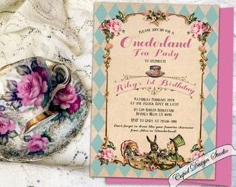 ONEderland first birthday invitation. First Unbirthday invitation. Alice in Onederland invitation. Alice in wonderland tea party invite.