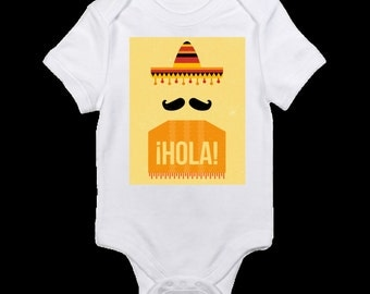 Hola bodysuit, sombrero and poncho bodysuit, Cinco de Mayo bodysuit, baby shower gift, baby clothes, funny bodysuit, mustache bodysuit