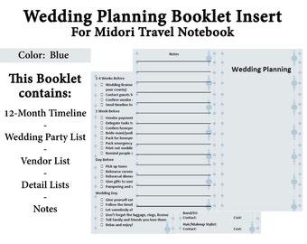 On SALE - Midori Traveler Notebook Printable Booklet - Wedding Planning Insert - Blue Background