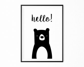 Black white scandi printable poster art print kids poster bear