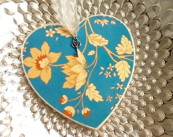 Heart. Wooden heart. Hand decorated hanging heart. Blue and cream heart with silver key embellishment. Gift. Home decor.