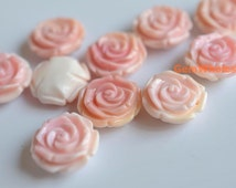 10PCS 15mm pink shell flower, jewelry supply, pink shell carving flower, carving pink flower,pink shell rose, side hole