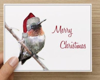 Christmas Card. Watercolor hummer with santa hat.  Pack of 10, 20, 30, or 40