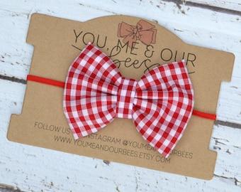 Red & White Bow Headband; Red and White checkered fabric bow on a red elastic headband; baby headband, girl's headband
