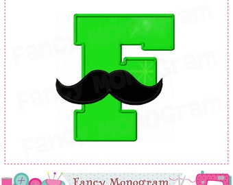 Mustache Monogram F applique,Mustache letter F applique,Birthday Letter F design,E,Mustacher Design,E,Mustacher applique,F,Font F design.