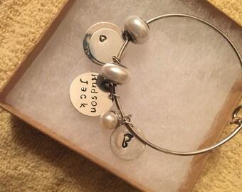 Custom Metal Stamped Charm Bracelet