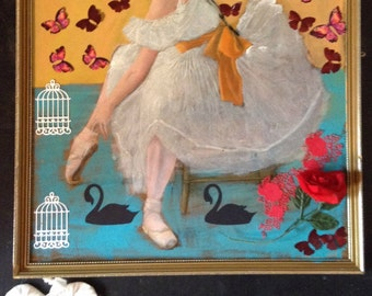 Ballerina with Butterflies - mixed media collage altered art assemblage