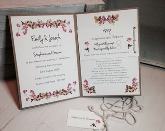 Rustic Rose Wedding Invitation Day Card