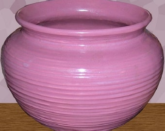 "Vintage 6-3/4"" Mauve Pottery Planter Rings Glazed Bottom-Excellent Condition"