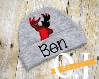 Personalized Baby Boy Deer Red Plaid Gray Newborn Hat - Appliqued Newborn Hat - Buffalo Check - Newborn Hat - Infant Hat - Hospital Hat