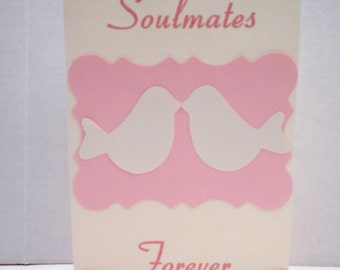 "Wedding Invitation ""Soulmates""-Cream & Pink Invitation, Wedding Invitations, Marriage, Wedding Invites, Lovebird Invitations, Weddings"