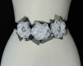 Black and White Bridal or Maternity Sash with black grossgain ribbon