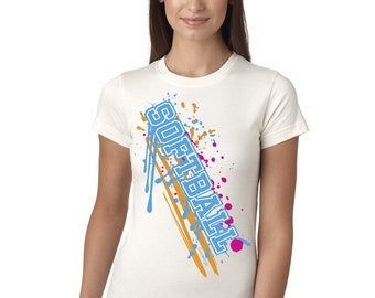 Softball Paint Splash White Juniors Longer Length T-Shirt