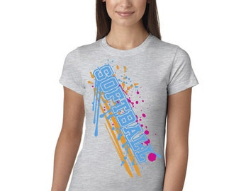 Softball Paint Splash Grey Juniors Longer Length T-Shirt