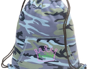 Sweatshirt material cinch bag with front pocket and embroidered spirit design - Crown - Multiple Colors - Camouflage - BG614