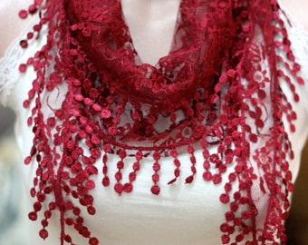 red lace scarf - woman scarf - scarves - gift scarf -women's accessories - scarves - woman accessories - accessories - hair accessories