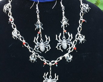 Spider Necklace and Earrings