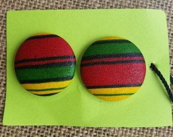 Rasta Colors Red Yellow Green Flag of Ethiopia Fabric Covered Button Earrings