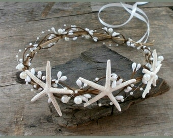 Beach Wedding Crown Starfish Crown Seashell Tiara Wedding Flower Crown Beach Headband Bridal Crown Flower Girls Beach Hair Accessories