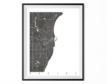 Racine Map Art Print / Racine City Poster / Racine Wall Art / Wisconsin/ Gift / Wisconsin home decor