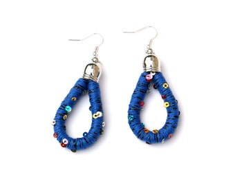 Blue Earrings, Fabric Earrings, Textile Rope Earrings, Sequin Earrings, Colorful Statement Earrings, Textile Jewelry, Fabric Jewelry