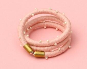 Pink Wrap Bracelet, Rope Bracelet, Boho Bracelet, Bridesmaid Bracelet, Beaded Textile Bracelet, Big Fabric Bracelet, Gift For Her