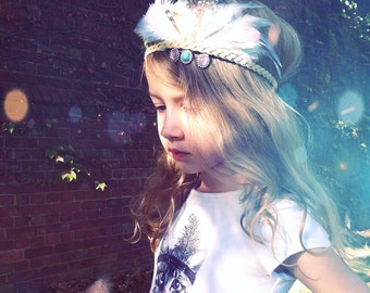 Annabelle Jeweled Feather Crown/Feather Headdress/Beaded Headdress/Festival Accessory/Mixed Feather Crown with Beads/Stunning Photo Prop