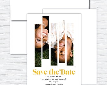 Split Photo Save the Date, Customizable Digital or Printed Save the Date