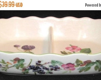 ON SALE Charter Club WILD Flowers Oval Divided Vegetable Bowl Mint Condition