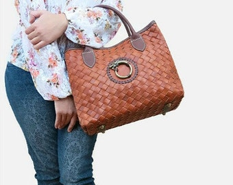 Leather bag - brown leather bag - leather purse - woven leather bag - leather crossbody bag - leather handbag - leather bag women - |t|