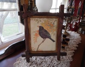 Blackbird Picture in Victorian Frame with Oak Leaves on Corners, Gothic Black Bird in Black Forest, Eastlake, Adirondack Style Frame