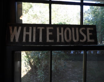 Vintage White House Foods, White House Vinegar Wood Sign, Black & White General Store Advertising Sign