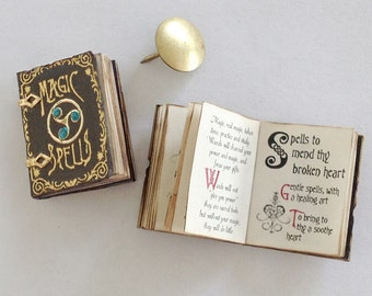 Miniature 'Jewelled' Magic & Spell Book - aqua (with printed pages, illustrations, and mock pop up bat)