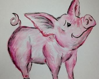 Original Art Cute Cartoon Pig Watercolor Painting