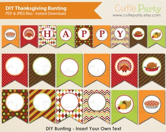 Thanksgiving Bunting Party Printable, Printable Thanksgiving decor bunting, Editable Thanskgiving bunting, DIY Decor Bunting