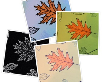 Fall leaves art blank greeting cards