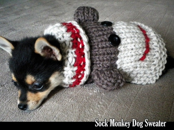 Sock Monkey Dog Sweater Knitting Pattern from AuntJanetsDesigns on Etsy Studio