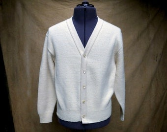 Ivory White Knit Cardigan, Men's Large Vintage Button Down Sweater