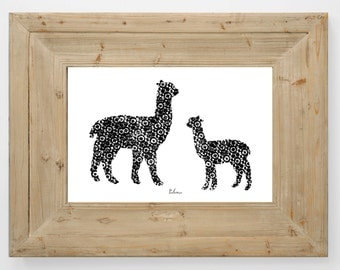 Alpaca Mother and Cria Limited Edition Print