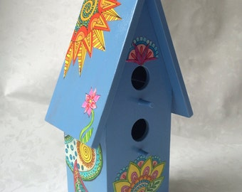 Birdhouse, Decorative Birdhouse, Blue Birdhouse, Unique Birdhouse, Decoupage Birdhouse, Dollhouse Birdhouse, Colorful Birdhouse