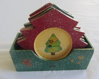 Christmas tree coaster set of 6, Decorative christmas tree coaster set, Drink coaster, Handmade coaster.