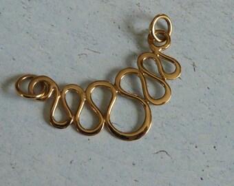 Natural Bronze Serpentine Festoon Pendant ~ Charm Holder ~ 33mm x 17mm
