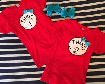 Thing 1 & thing 2 shirts and bows