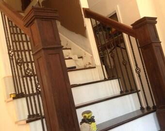 Peruvian Walnut Staircase Railing Post