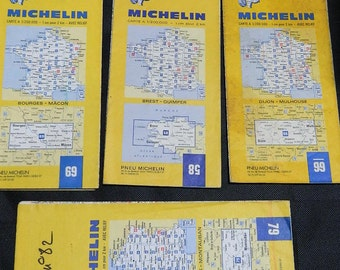 Old road maps MICHELIN set of 3 Vintage Michelin maps, vintage 1960's.