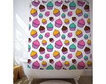 Cupcakes Art Shower Curtain, Illustration Art, Purple Curtain, Kids Bathroom, Bath Decor