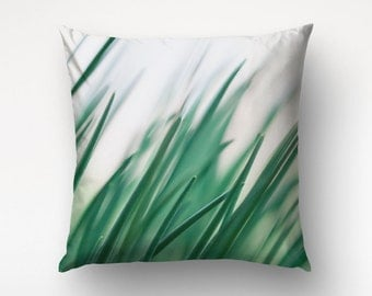 Grass Pillow Cover, Nature Decor, Green Throws, Home Decoration