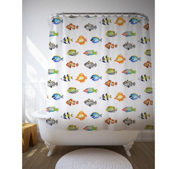 Fish Pattern Shower Curtain, Fish Illustrations, Graphic Shower, Bath Decorating, Beach House Decor