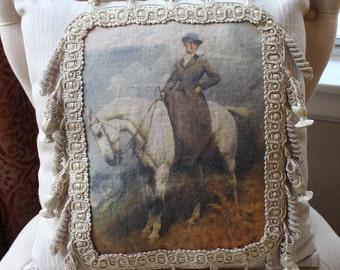 Lady Equestrian handmade decorative pillow