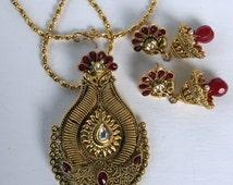 Pa 1507 New Handmade Silver mixed Gold Plated Pendant Earring Set with Kundan Polki & Simulated Ruby Stones Free Shipping Surbhi